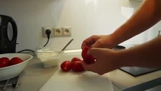 میوه آرایی - گل با گوجه