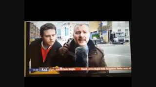 واکنش متقابل خبرنگار به یک مزاحم حین گزارش زنده تلویزیونی