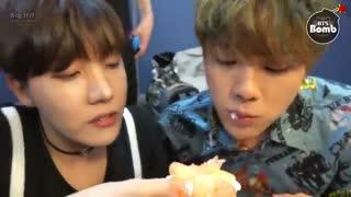 BANGTAN BOMB] Dessert time @-@ BTS JIN, JHOPE, JUNGKOOK  ..غذا خوردنشوون رو خخ