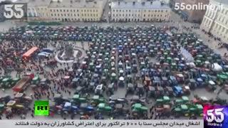 اشغال میدان مجلس سنا با 600 تراکتور برای اعتراض کشاورزان به دولت فنلاند