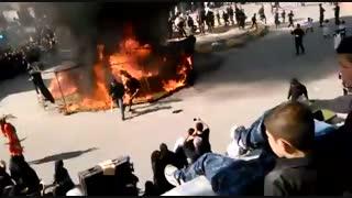 آتش گرفتن چن پسر در مراسم تعزیه