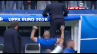 خوشحالی منحصربه فرد کونته بعد گل دوم ایتالیا!!