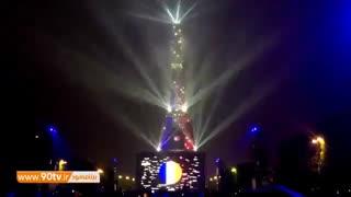 نورپردازی زیبا و جذاب برج ایفل به رنگ پرچم فرانسه
