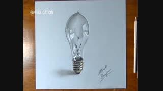 نقاشی سه بعدی -لامپ