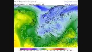 الگوی جریان و دمای (لایه 850 هکتوپاسکال)