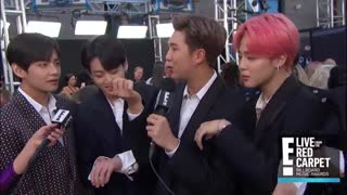 BTS Flaunts Friendship Bracelets From Halsey at BBMAs 2019 - E! Red Carpet & Award Shows - YouTube