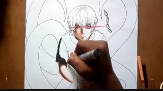 نقاشی 3D از کانکی(توکیو غول) Tokyo ghoul speed drawing
