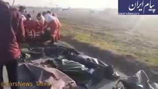 جمع آوری اجساد قربانیان حادثه سقوط هواپیمایی اوکراینی
